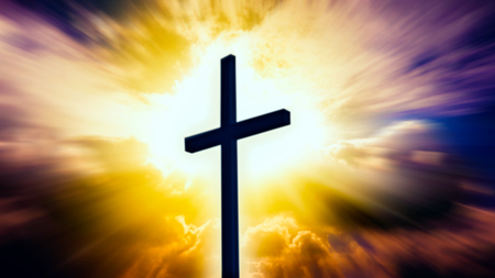 Heavenly Cross. Religion symbol shape. Dramatic nature background. Glowing cross in sky. Happy Easter. Light from sky. Religion background. Paradise heaven. Light in sky.