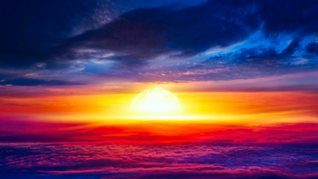 Beautiful sky. Abstract big explosion. Light from sky. Religion background. beautiful cloud background sky at sunset and dawn. Stock Photo