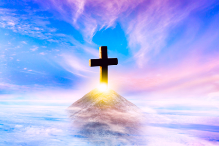 Cross on top of a mountain. Conceptual cross religion shape. Religion background