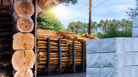 Warehousing cylindrical logs. Stock of timber. 写真素材