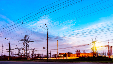 Power plant. Transformer substation. Industrial landscape. Power lines