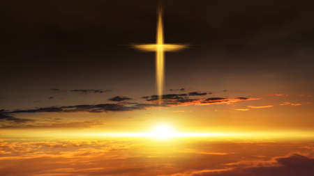 The cross of God in the rays of the sun. Background of religions