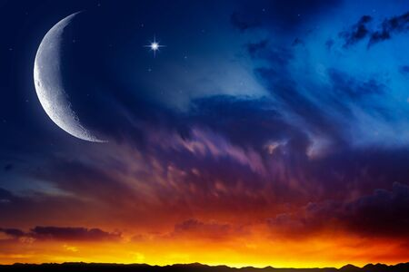Cityscape Sunset. Crescent moon with beautiful sunset background. Generous Ramadan. Religion background