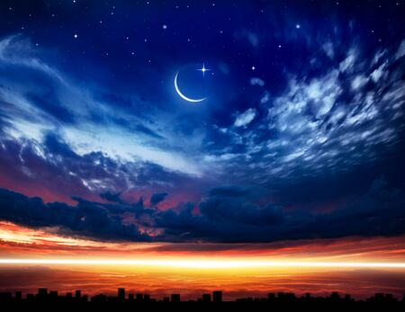 Cityscape Sunset. Crescent moon with beautiful sunset background. Generous Ramadan. Religion background