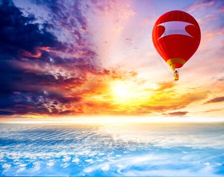 Balloons fly against the background of sunset. Hot air balloons Stock Photo