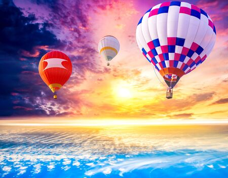 Hot-air balloons in sky. Hot air balloons flies in blue sky