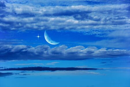 Moon and beautiful night with stars