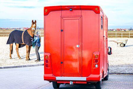 輸送家畜。馬の輸送バン,馬術競技