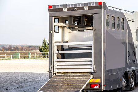 transportation livestock. Horse transportation van, equestrian sport 写真素材