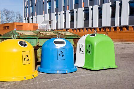 Trash can Europe. Waste recycling in the European Union. Painted trash bins. plastic utilization Foto de archivo