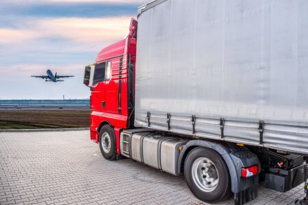 Truck, delivery of cargo. A plane to the sky. delivery transport