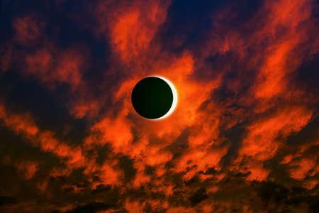 eclipse of the sun, in a bright sky