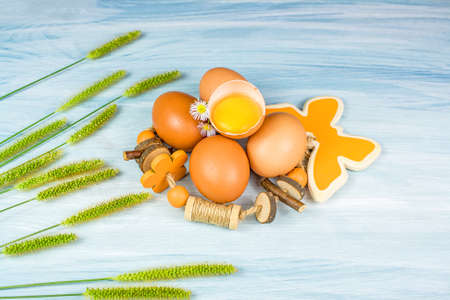 chicken egg on a wooden background, natural decor