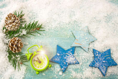 Christmas background with decorations and gift. Christmas background with clock