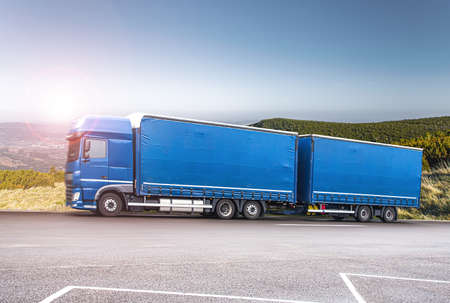 truck on the roads of Europe. Logistics and transportation