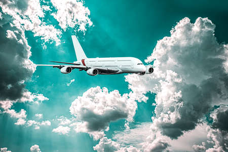 plane took off into the sky, altitude. Airplane in the sky - Passenger Airliner