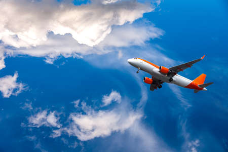 plane took off into the sky, altitude. Airplane in the sky - Passenger Airliner Stock fotó
