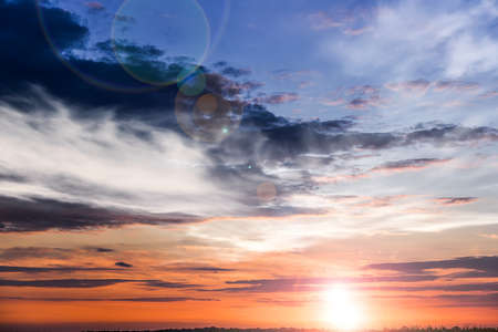 background sky at sunset and dawn. Dramatic nature background. 스톡 콘텐츠