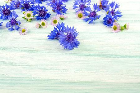 Blue cornflower, close up. bouquet of field flowers as a gift, blue petals scattered Reklamní fotografie
