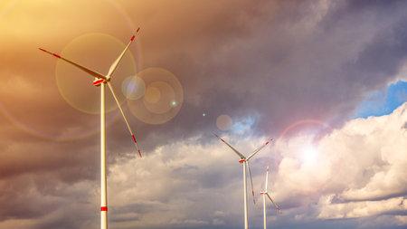 Solar energy panels with wind turbines, power plant