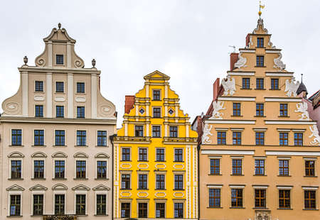 Beautiful colorful facades of antique building at Wroclaw, Poland