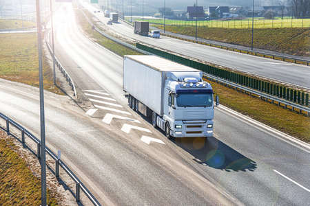 Truck on the roads of Europe. Logistics and delivery of cargo