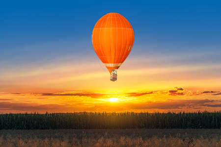 balloon amid blue sky. soar in the clouds