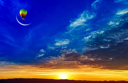 balloon against the background of a crescent, the tranquility of nature Banque d'images