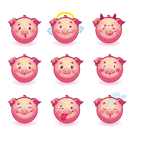 smilies pigs Vector