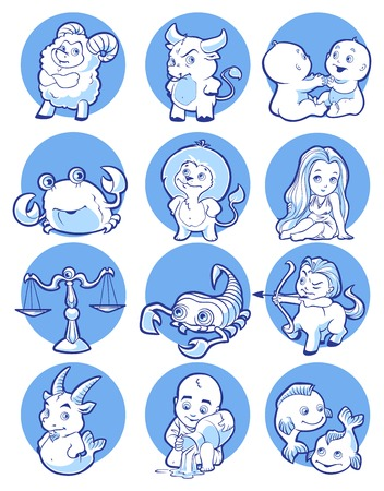 monochrome vector zodiac in blue tones Vector