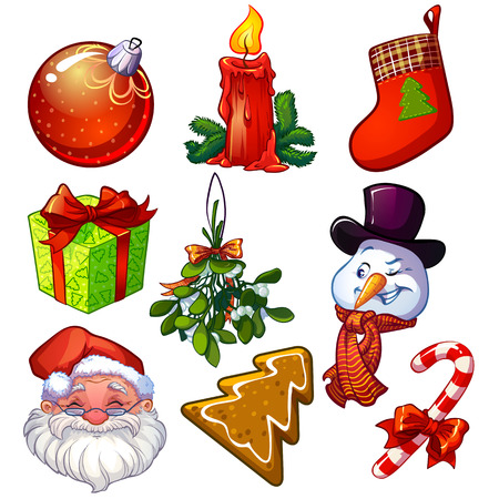set of decorative Christmas icons Vector