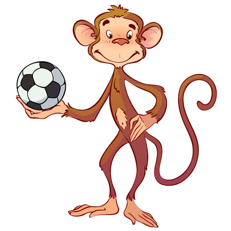 monkey with a soccer ball Illustration
