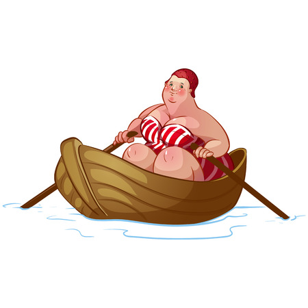 fat woman in a boat Vector