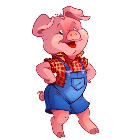funny happy pig