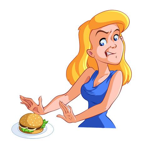 woman refuses harmful fast food