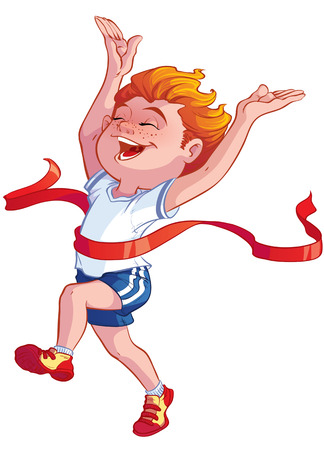 athlete running: boy at the finish line with a red ribbon