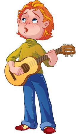 red-haired boy with a guitar Stock Vector - 23461736