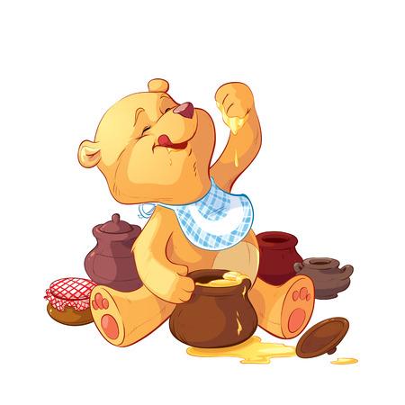 teddy bear with a pot of honey Vectores