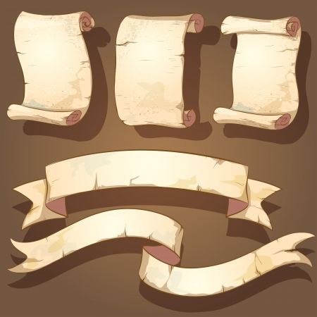 five ancient scrolls with twisted edges