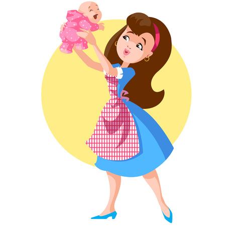 Eine Frau mit einem Baby auf dem Arm Standard-Bild - 23864049