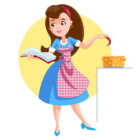 A woman in an apron prepares soup Vector