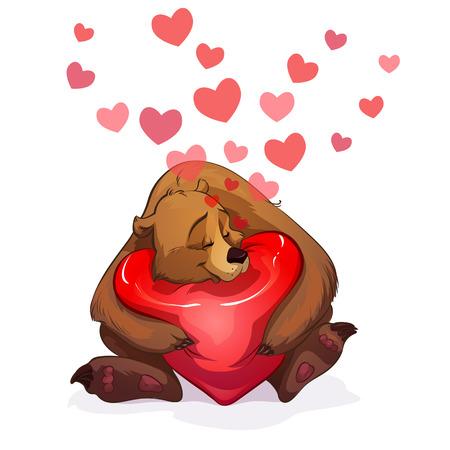 gently: big brown bear gently hugs a big heart