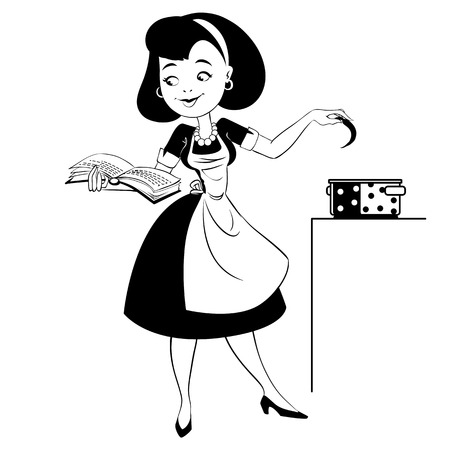 Housewife preparing a soup - black outline Vector
