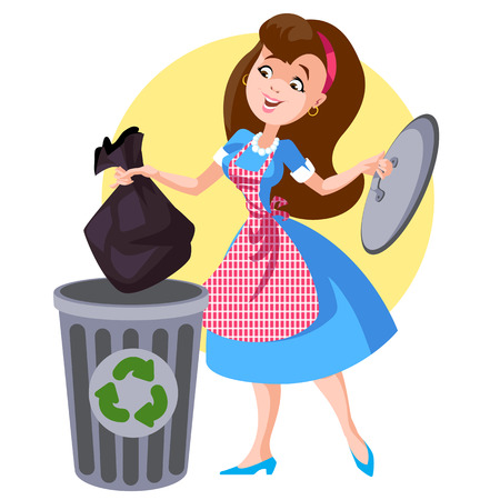 throws: A woman in an apron throws trash Illustration