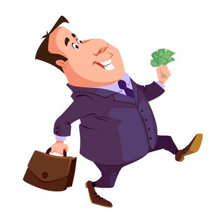 a cheerful businessman with money and briefcase