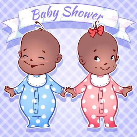 black baby boy: Card for Baby Shower - black boy and girl on a blue Illustration