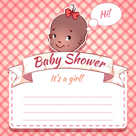 ebony: Card for Baby Shower - black girl on a pink plaid background