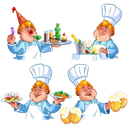 Set of four cheerful cook in the hood Vector