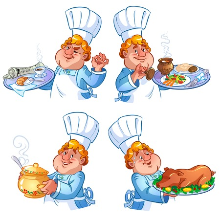 Set of four cheerful cook in the hood