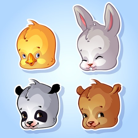 cartoon hare: Set of four icons cute animals on a blue background